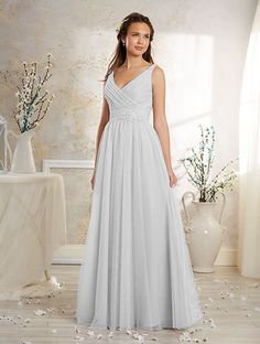 Alfred Angelo Style 8629L: Floor length long bridesmaid dress with V neckline