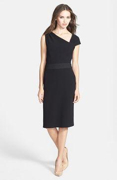 Vera Wang Asymmetrical Crepe Sheath Dress.