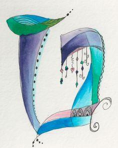 Dabbling in whimsical Hebrew letters. Hebrew Tet by Allison Carter influenced by @joanne fink @calligrafink