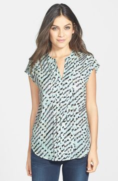 Caslon® Pleat Front Cap Sleeve Blouse available at #Nordstrom