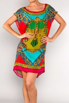 Versace Baroque Scarf Print Vivid Colored Italian Motif Mini Sheath Dress