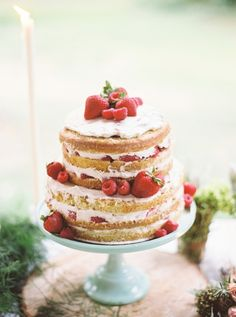 Fruit topped naked cake: http://www.stylemepretty.com/little-black-book-blog/2016/01/22/rustic-romantic-cape-may-wedding/ | Photography: Julie Paisley - http://juliepaisleyphotography.com/