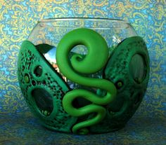 Green Swirl Vase Polymer Clay and Glass via Etsy