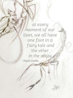 Paulo Coelho quote and scorpion doodle