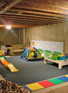 unfinished basement playroom