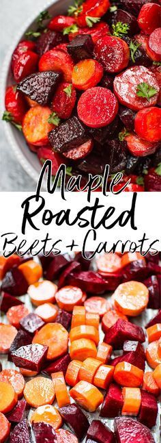 Eat Healthy This maple roasted beets and carrots recipe is an easy, colorful, and healthy side dish. Perfect for your holiday table! - This maple roasted beets and carrots recipe is an easy, colorful, and healthy side dish. Perfect for your holiday table! Veggie Side Dishes, Healthy Side Dishes, Vegetable Sides, Side Dish Recipes, Food Dishes, Recipes Dinner, Vegetarian Side Dishes, Easy Side Dishes, Veggie Recipes Sides
