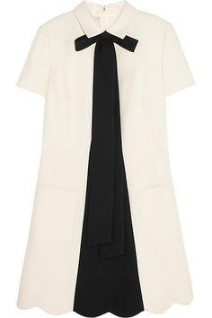 bow embellished wool blend crepe mini dress