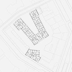 Esch Sintzel Wohnüberbauung Maiengasse, Basel Switzerland 2018 Grundriss Regelgeschoss #floorplan #housing Basel, 432 Park Avenue, Barn Renovation, Detached House, Home Projects, Floor Plans, How To Plan, Architecture, Urban