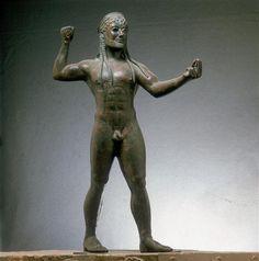 Zeus or Poseidon -  bronze statue from Ugento in Apulia, Italy. Ancient Greek civilization, 5th Century BC. Taranto, Museo Archeologico Nazionale