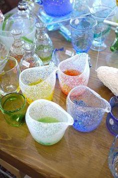 気泡の入った、ちょっと美味しそうな?ガラス器 : 器と珈琲 Lien~りあん~ 琉球ガラスのピッチャーのご紹介です。