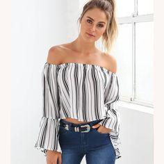Striped Slash Neck Long Flare Sleeve Women Crop Top