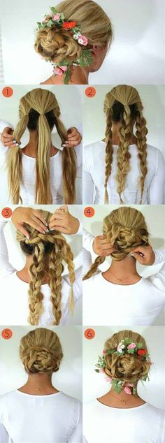 Oktoberfest Frisuren mit Anleitungen in Bildern zwei zöpfe kurze haare tutorial easyupdosforlonghair Party Hairstyles, Trendy Hairstyles, Braided Hairstyles, Wedding Hairstyles, Flower Hairstyles, Diy Wedding Hair, Braids For Short Hair, Long Hair Updos, Braided Updo