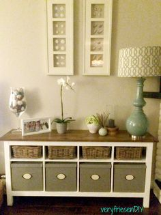 DIY: IKEA Hemnes sideboard makeover. Sanded, primed, painted and stained. Materials: Benjamin Moore Chantilly Lace, Minwax Water-Based Stain in American Walnut, Polycrylic.