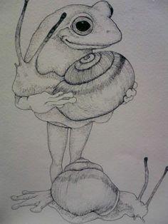 Snail Art, Frog Illustration, Frog Art, Mushroom Art, Alien Art, Cute Frogs, Hippie Art, Japanese Art, Cute Art