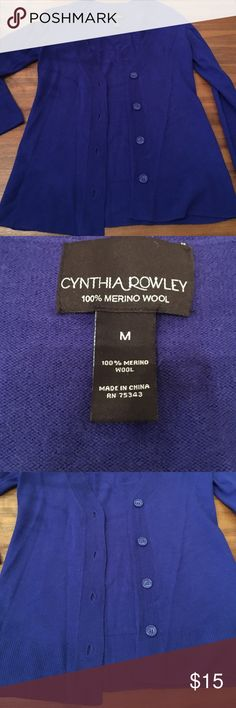 Cynthia Rowley Royal Blue 100% Wool sweater 100% Merino Wool Cynthia Rowley Royal blue cardigan. Cute buttons in the front of you want to wear it closed. Cynthia Rowley Sweaters Cardigans