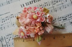 ANTIQUE VINTAGE MILLINERY BUDS FLOWER PEACH PINK BOUQUET HAT FRENCH DRESS TRIM