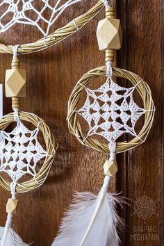 Boho dream catcher wall hanging Large white by GraphicMeditation Dream Catcher White, Feather Dream Catcher, Dream Catcher Boho, Crochet Feather, Crochet Dreamcatcher, Dreamcatcher Feathers, White Dreamcatcher, Mandala Crochet, Los Dreamcatchers