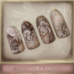Nail design with Moyra Stamping plate No. 05 Vintage and No. 12 Faces… … in 2019 Nailart, Vintage Nail Art, Nagel Stamping, Instagram Nails, Gel Nail Art, Nail Polish, Manicure E Pedicure, Dream Nails, Beautiful Nail Designs