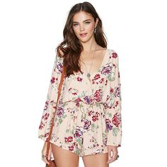Find More Information about European and American Racerback V neck Sexy Flower Print Rompers Women Floral Jumpsuit Back Strap Long sleeve Shorts Jumpsuit,High Quality shorts chic,China shorts head Suppliers, Cheap shorts factory from HSM Boutique on Aliexpress.com