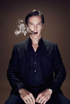 Benedict Cumberbatch smoking a Cigar