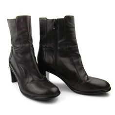 27288d11c070 Via Spiga High Ankle Boots 8 M Side Zip Leather Brown Block Heel Shoes  Quality
