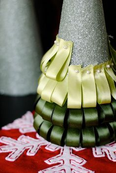 Ribbon Christmas Tree - I'd do red/white/silver and would find some kind of star topper to hide the top of the styrofoam and raw ribbon
