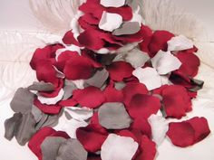 500 Rose Bulk Petals, Artifical Petals, Grey Red and White Custom Blend, Wedding Decoration, Flower Girl Basket Petals