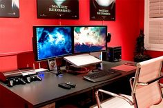 home office curved desk two screens - Google Search