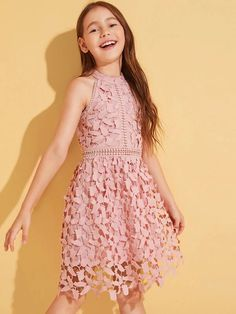 To find out about the Girls Fit and Flare Guipure Lace Overlay Halter Dress at SHEIN, part of our latest Girls Dresses ready to shop online today! Girls Dresses Tween, Kids Summer Dresses, Girls Dresses Online, Girls Formal Dresses, Kids Outfits Girls, Girls Fashion Clothes, Cute Outfits For Kids, Little Girl Dresses, Cute Dresses