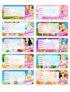 etiquetas para imprimir para tus libros y cuadernos de Barbie
