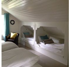 Hidden Bunkbeds... don't take up much room! #DIYAtticRemodel