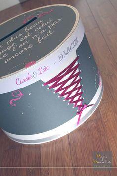 Tirelire boîte à chapeau personnalisée è Gris & Fushia http://www.mainsetmerveillesdeco.fr/