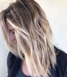 Beautiful beachy blonde piecey balayage by Aveda artist Jen Norris.