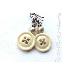Neutral Off-White Vintage Button Earrings with White Pearl Beads by buttonsoupjewelry on Etsy