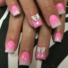 Like the design, pink, white butterfly nails but not the shape, I'd have almond shape nails.