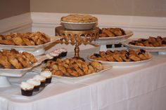 Pie & galette wedding display with cupcakes