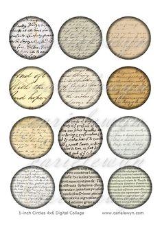 Instant Download - Vintage Handwriting Bottlecap Images / Sepia Victorian Paper Ephemera Cursive Writing Letters / Printable Digital Collage via Etsy