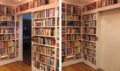 A secret passage or a hidden room...these books and the shelves do double duty here! I like secrets! #Books #Shelves #Doors