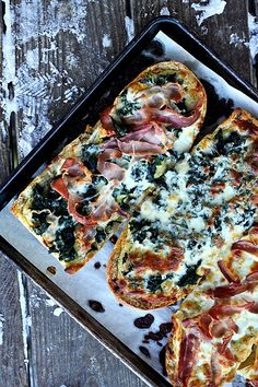 White Spinach French Bread Pizza