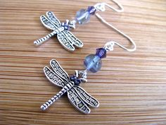 Nature Series:  Silver Dragonfly with Green Fluorite and Purple crystal Long Dangly Earrings - pinned by pin4etsy.com