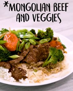 Mongolian Beef And Veggies -Tasty - Food Videos And Recipes Meat Recipes, Asian Recipes, Chicken Recipes, Dinner Recipes, Cooking Recipes, Healthy Recipes, Recipies, Asia Food, Mongolian Beef Recipes