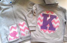 Monogrammed Jacket sweatshirt hoodie chevron modern pink toddler or baby girl- initial hoodie. $34.00, via Etsy.