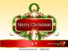 luxury  Christmas greeting banner,Christmas garland with bells and holly berry - stock vector