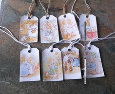 Beautiful Set of 8 Gift tags, With scenes from The Beatrix Potter Stories, a lovely Finishing touch to that special gift, Handmade Gift Tags, Wrapping Accessories, a different picture on each Gift Tag. Twine Gift Tags, so that you can secure them to your gift easily. | Shop this product here: http://spreesy.com/SpryHandcrafted/259 | Shop all of our products at http://spreesy.com/SpryHandcrafted    | Pinterest selling powered by Spreesy.com