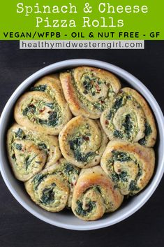 Spinach & Cheese Pizza Rolls are the perfect garlicky cheesy vegan appetizer. Dip in your favorite pizza sauce. A healthy vegan / whole-food plant-based holiday party appetizer or game day snack. Great for lunch too! Vegan Party Food, Healthy Vegan Snacks, Vegan Appetizers, Vegan Foods, Appetizers For Party, Appetizer Recipes, Vegetarian Recipes, Healthy Recipes, Cheese Appetizers