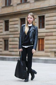 Vagabond Shoes, Lindex Shopper Bag, H&M Biker Jacket, Vero Moda Sweater, Mango White Shirt