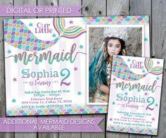 Mermaid Invitation, Mermaid Birthday Invitation, Mermaid Birthday Party Invitation, Mermaid Invite, Teal Purple Gold, Mermaid Tail #494 by PerfectPrintableCo on Etsy