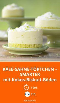 Käse-Sahne-Törtchen – smarter - mit Kokos-Biskuit-Böden - smarter - Kalorien: 310 kcal - Zeit: 1 Std. | eatsmarter.de