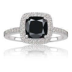 Black Onyx & Diamond Halo Ring in 10k White Gold