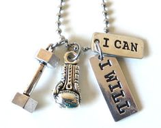 I Can I Will Workout Dumbbell Boxing Glove Charm Necklace YOU Choose Necklace Length and Ball Chain Size